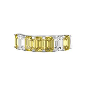 Emerald Yellow Sapphire Sterling Silver Ring with Yellow Sapphire and White Sapphire
