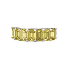Emerald-Cut Yellow Sapphire Sterling Silver Ring with Yellow Sapphire