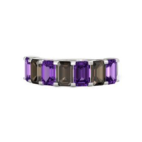 Emerald-Cut Smoky Quartz Sterling Silver Ring with Amethyst & Smoky Quartz