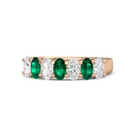 Oval Emerald 14K Rose Gold Ring with White Sapphire and Emerald