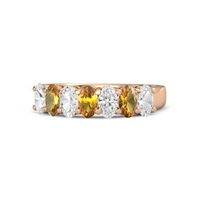 Oval Citrine 14K Rose Gold Ring with White Sapphire and Citrine