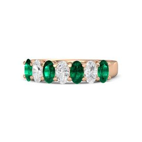 Oval White Sapphire 14K Rose Gold Ring with Emerald and White Sapphire