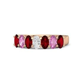 Oval White Sapphire 14K Rose Gold Ring with Ruby and Pink Sapphire