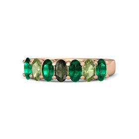 Oval Green Tourmaline 14K Rose Gold Ring with Emerald and Peridot