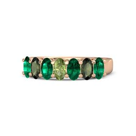Oval Peridot 14K Rose Gold Ring with Emerald and Green Tourmaline