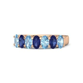 Oval Sapphire 14K Rose Gold Ring with Blue Topaz & Sapphire