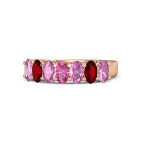 Oval Pink Tourmaline 14K Rose Gold Ring with Pink Sapphire and Ruby