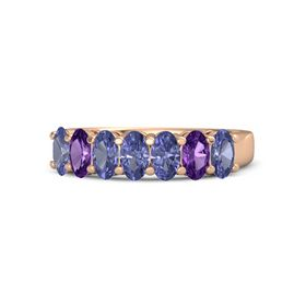 Oval Tanzanite 14K Rose Gold Ring with Tanzanite and Amethyst