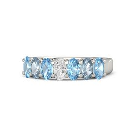 Oval White Sapphire 14K White Gold Ring with Blue Topaz & Aquamarine