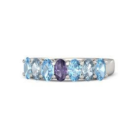 Oval Iolite 14K White Gold Ring with Blue Topaz & Aquamarine