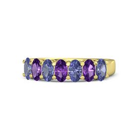 Oval Amethyst 14K Yellow Gold Ring with Tanzanite and Amethyst