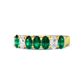 Oval Emerald 14K Yellow Gold Ring with Emerald & White Sapphire
