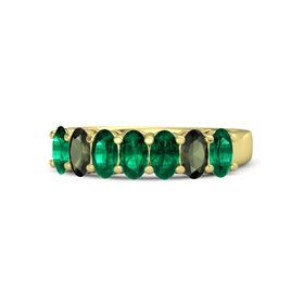 Oval Emerald 14K Yellow Gold Ring with Emerald and Green Tourmaline