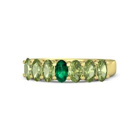 Oval Emerald 14K Yellow Gold Ring with Peridot