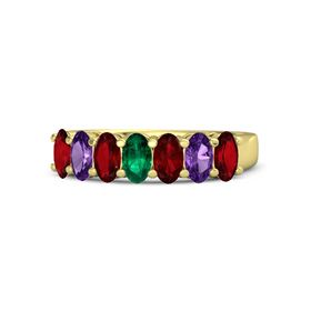 Oval Emerald 14K Yellow Gold Ring with Ruby and Amethyst
