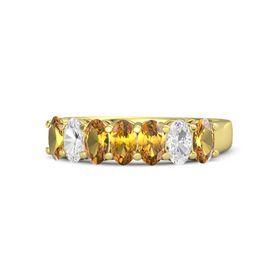 Oval Citrine 14K Yellow Gold Ring with Citrine & White Sapphire