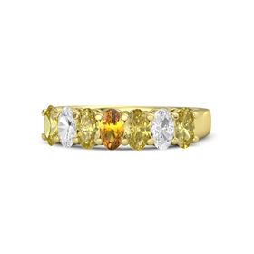 Oval Citrine 14K Yellow Gold Ring with Yellow Sapphire & White Sapphire