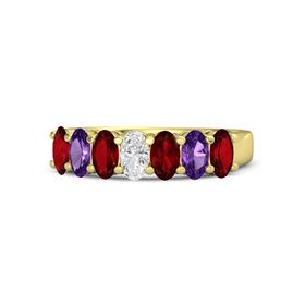 Oval White Sapphire 14K Yellow Gold Ring with Ruby and Amethyst