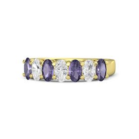 Oval White Sapphire 14K Yellow Gold Ring with Iolite & White Sapphire