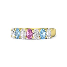 Oval Pink Sapphire 14K Yellow Gold Ring with White Sapphire & Blue Topaz