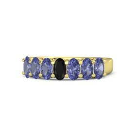 Oval Black Onyx 14K Yellow Gold Ring with Tanzanite