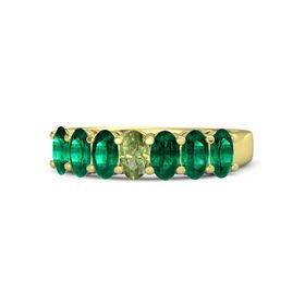 Oval Peridot 14K Yellow Gold Ring with Emerald