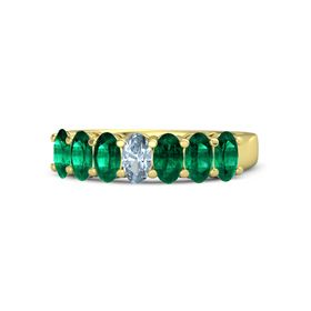 Oval Aquamarine 14K Yellow Gold Ring with Emerald