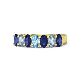Oval Blue Topaz 14K Yellow Gold Ring with Blue Sapphire and Aquamarine