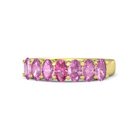 Oval Pink Tourmaline 14K Yellow Gold Ring with Pink Sapphire