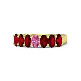 Oval Pink Tourmaline 14K Yellow Gold Ring with Ruby