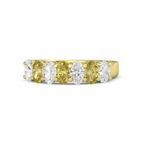 Oval Yellow Sapphire 14K Yellow Gold Ring with White Sapphire and Yellow Sapphire