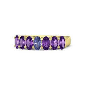 Oval Tanzanite 14K Yellow Gold Ring with Amethyst