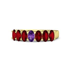 Oval Amethyst 18K Yellow Gold Ring with Ruby