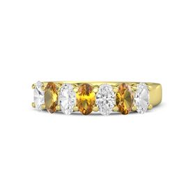 Oval Citrine 18K Yellow Gold Ring with White Sapphire and Citrine