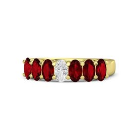 Oval White Sapphire 18K Yellow Gold Ring with Ruby