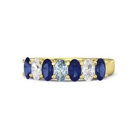 Oval Aquamarine 18K Yellow Gold Ring with Blue Sapphire and White Sapphire