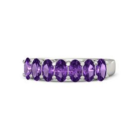 Oval Amethyst Palladium Ring with Amethyst