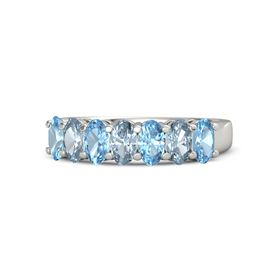 Oval Aquamarine Palladium Ring with Blue Topaz and Aquamarine