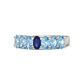 Oval Blue Sapphire Palladium Ring with Blue Topaz