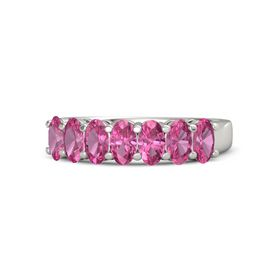 Oval Pink Tourmaline Palladium Ring with Pink Tourmaline