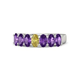 Oval Yellow Sapphire Palladium Ring with Amethyst