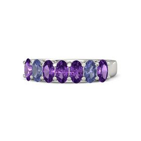 Oval Amethyst Platinum Ring with Amethyst and Tanzanite