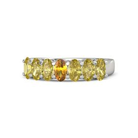 Oval Citrine Platinum Ring with Yellow Sapphire