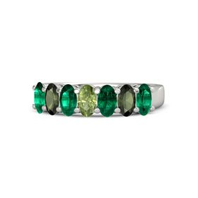 Oval Peridot Platinum Ring with Emerald and Green Tourmaline