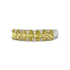 Oval Yellow Sapphire Platinum Ring with Yellow Sapphire