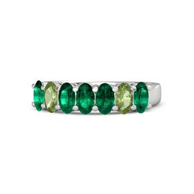 Oval Emerald Sterling Silver Ring with Emerald & Peridot