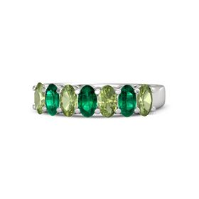 Oval Emerald Sterling Silver Ring with Peridot and Emerald