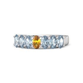 Oval Citrine Sterling Silver Ring with Aquamarine