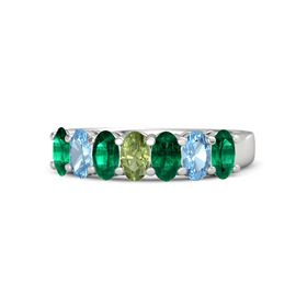 Oval Peridot Sterling Silver Ring with Emerald and Blue Topaz