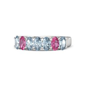 Oval Aquamarine Sterling Silver Ring with Aquamarine & Pink Tourmaline